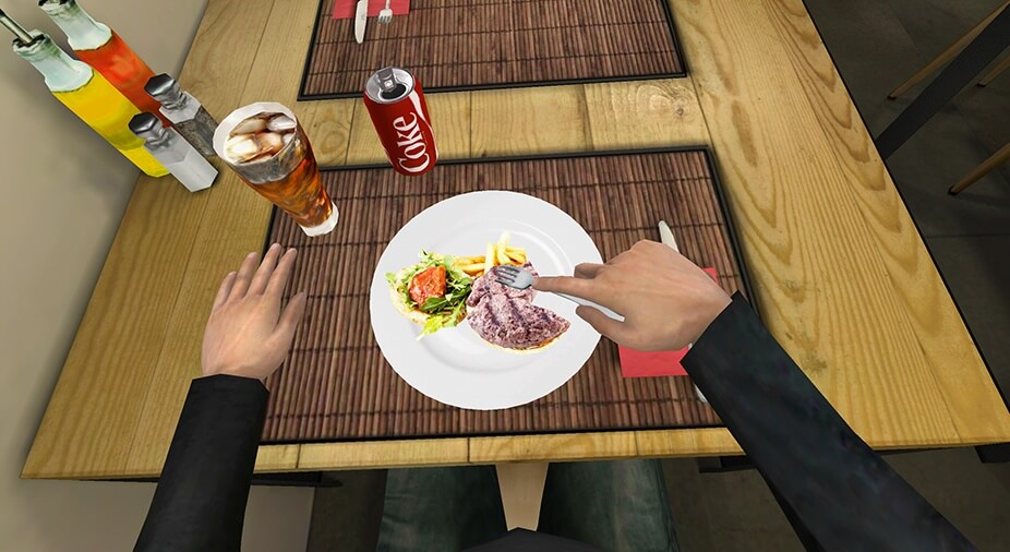 a plate of food in VR to treat eating disorders