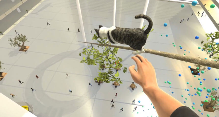 a cat on a high tree in VR to treat fear of heights